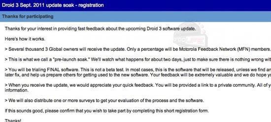 Motorola DROID 3 update is on the way, soak test kicking off
