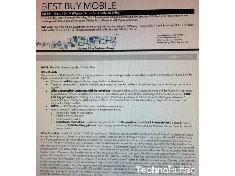 Best buy leak teases trade in promo thatll give 100 gift card best buy 100 smartphone trade in iphone 5s iphone 5c leak reheart Image collections