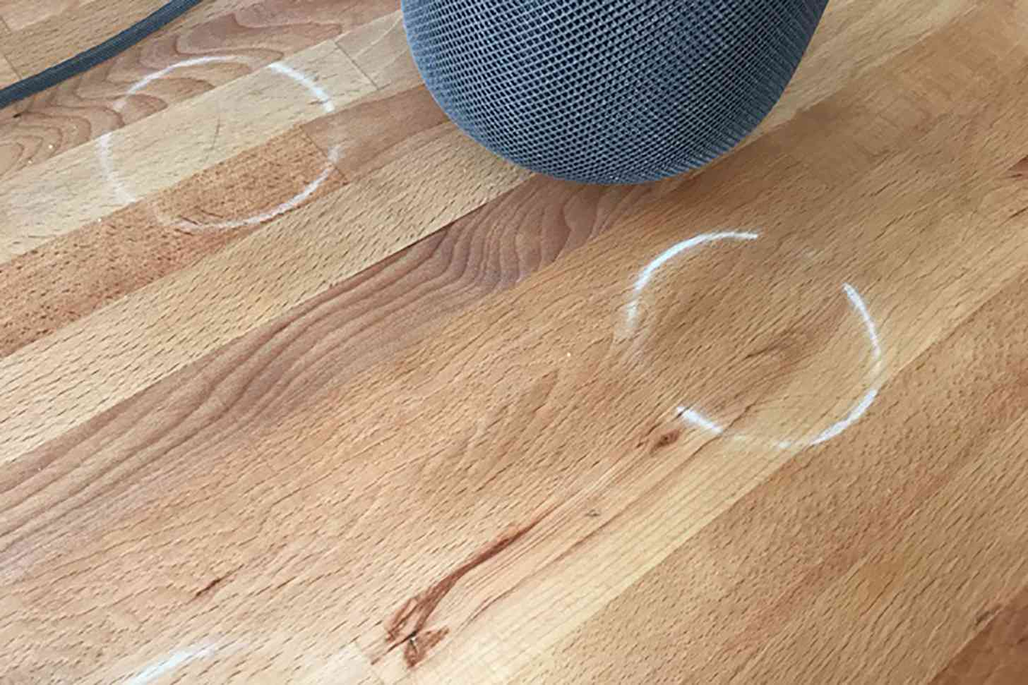 Apple HomePod white rings wood furniture