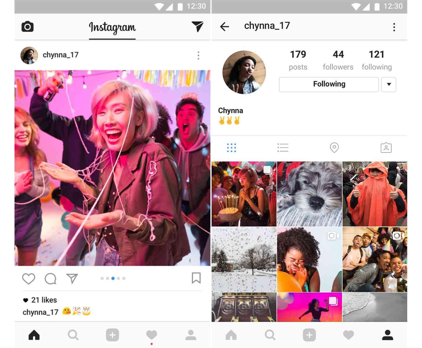 Instagram multi-photo posts feed