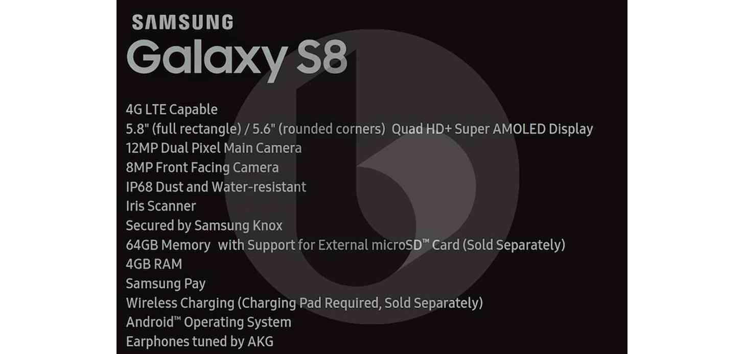 Samsung Galaxy S8 specs leak