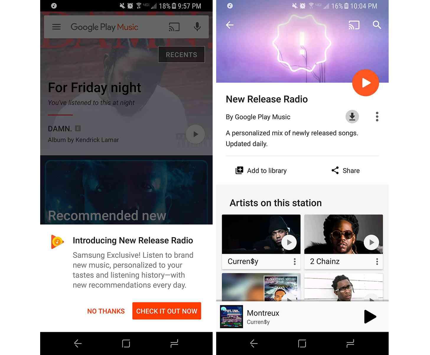 Samsung Galaxy S8 Google Play Music New Release Radio