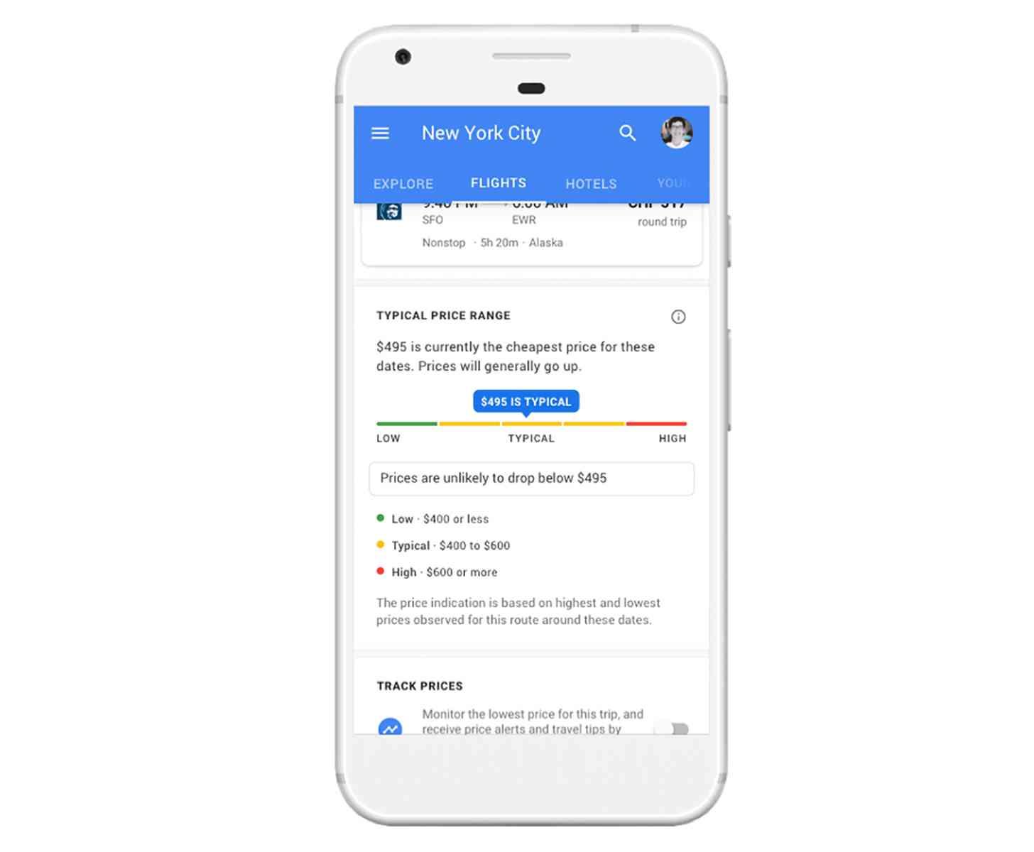 Google Flights Christmas New Year's pricing