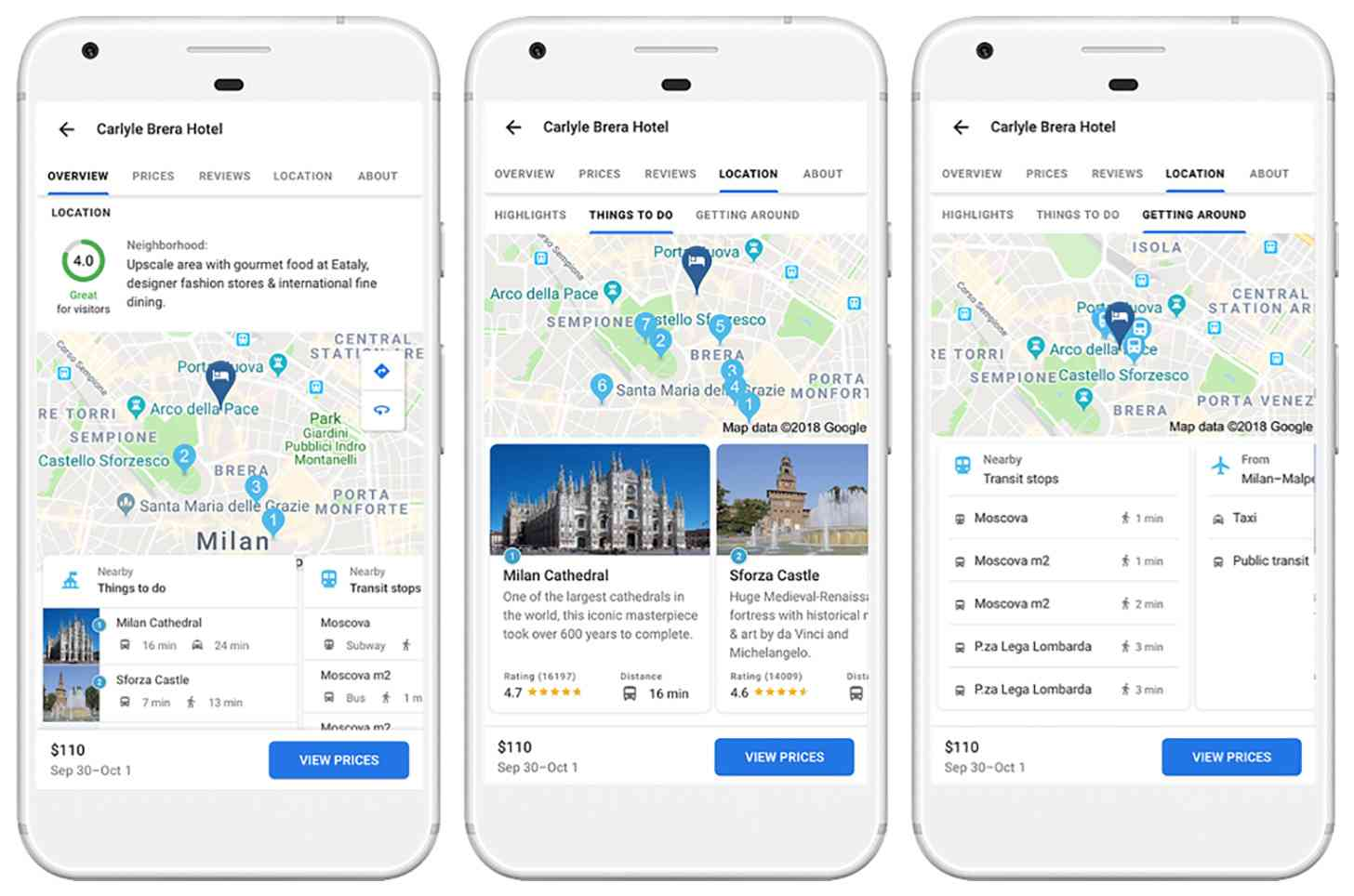 Google Your Trips hotel rating