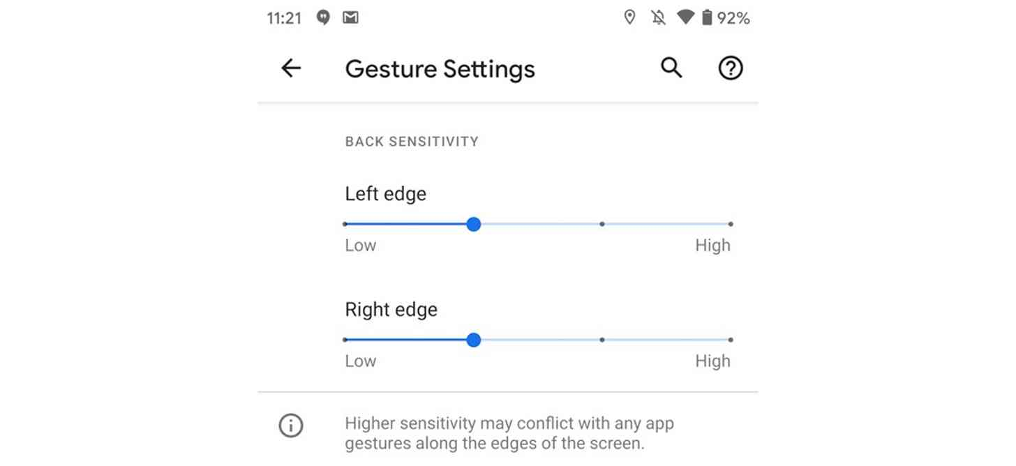 Android 11 individual gesture sensitivity