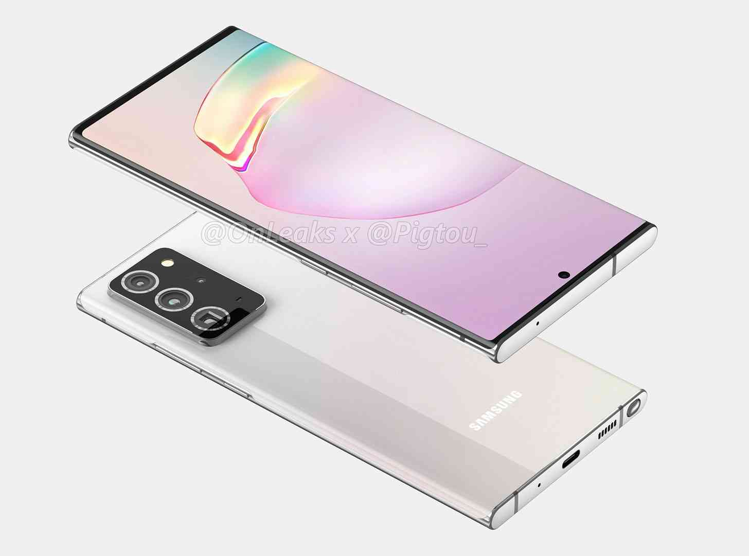 Samsung Galaxy Note 20+ render S Pen location