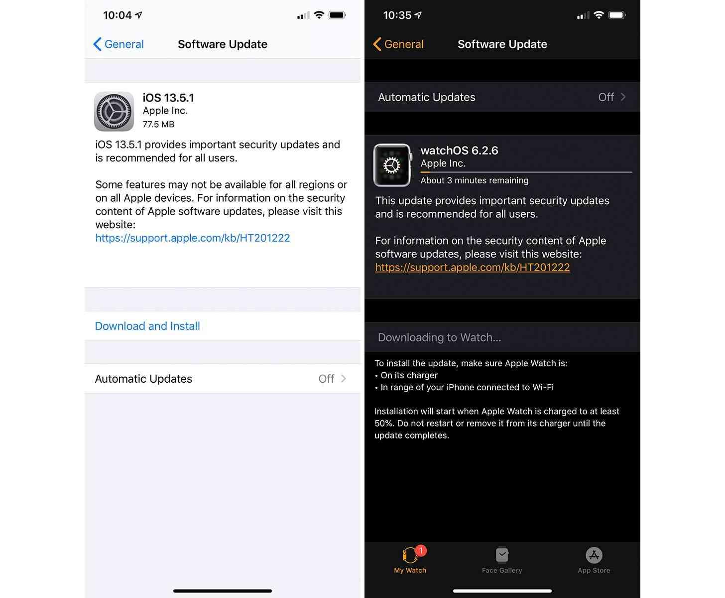 iOS 13.5.1, watchOS 6.2.6 updates