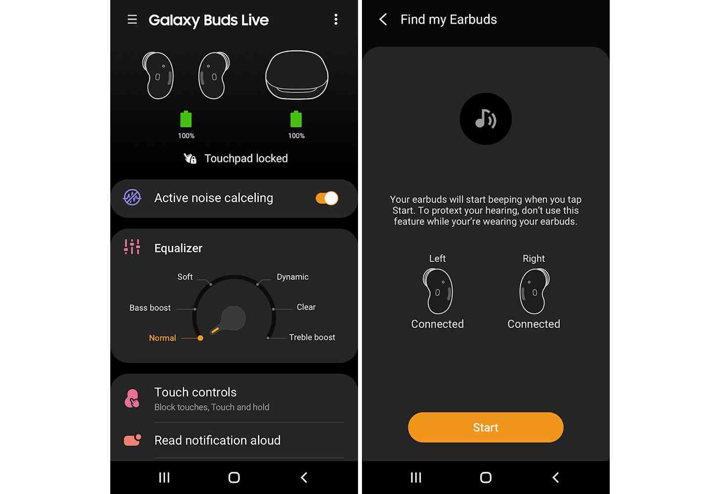 Galaxy Buds Live app screenshots