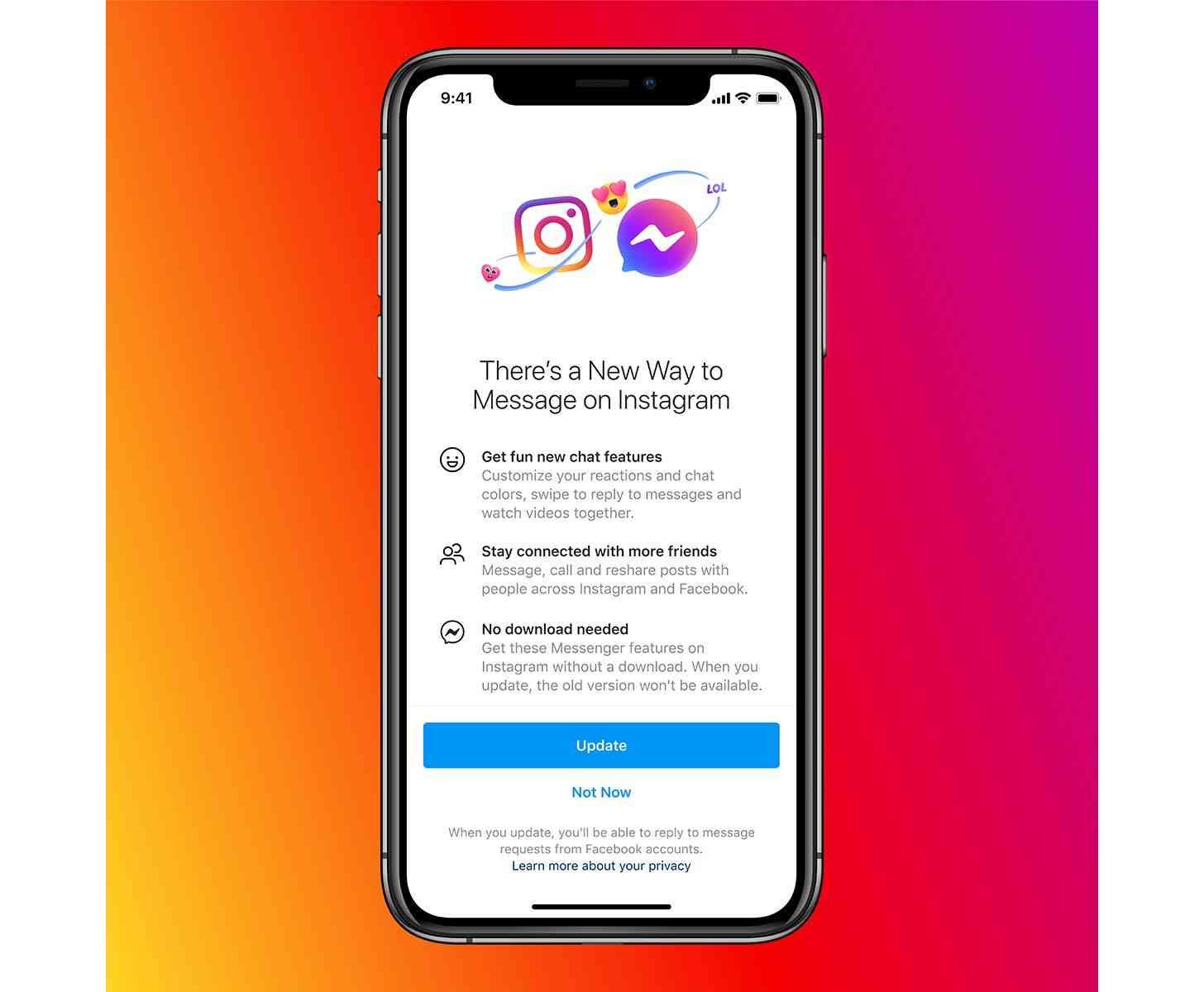 Facebook Instagram, Messenger unified