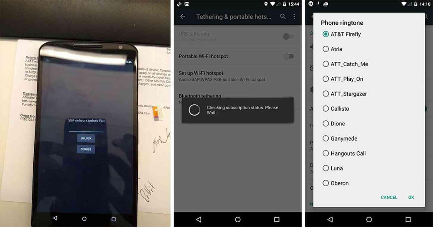 AT&T Nexus 6 SIM lock, tethering, ringtones
