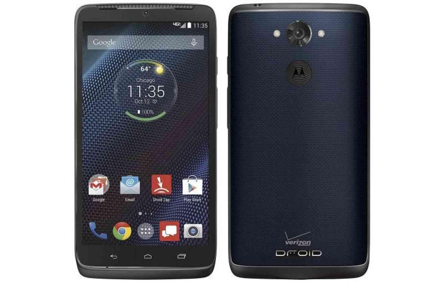 Blue Motorola DROID Turbo front back