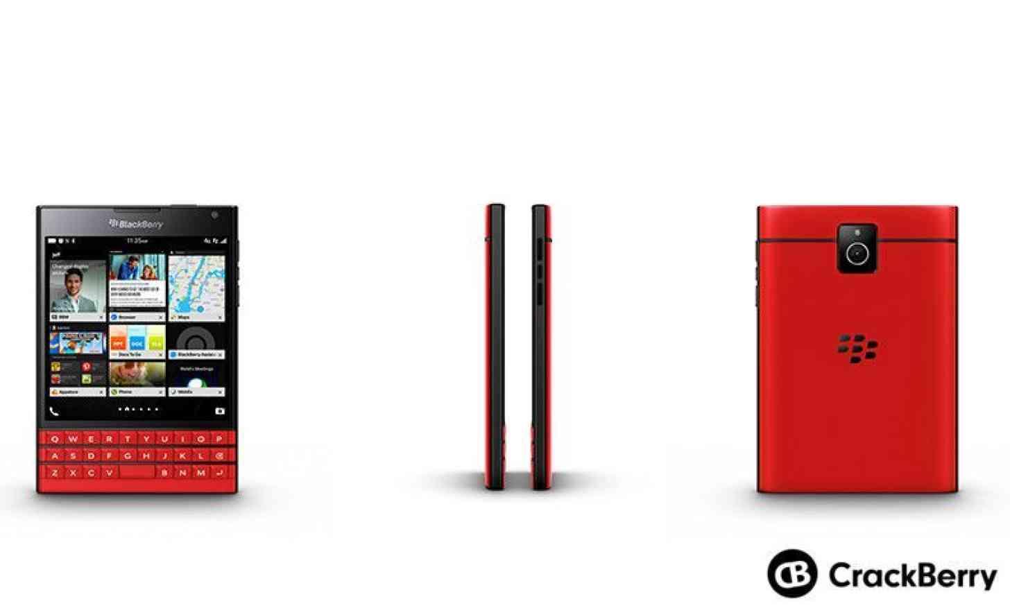 Red BlackBerry Passport all sides