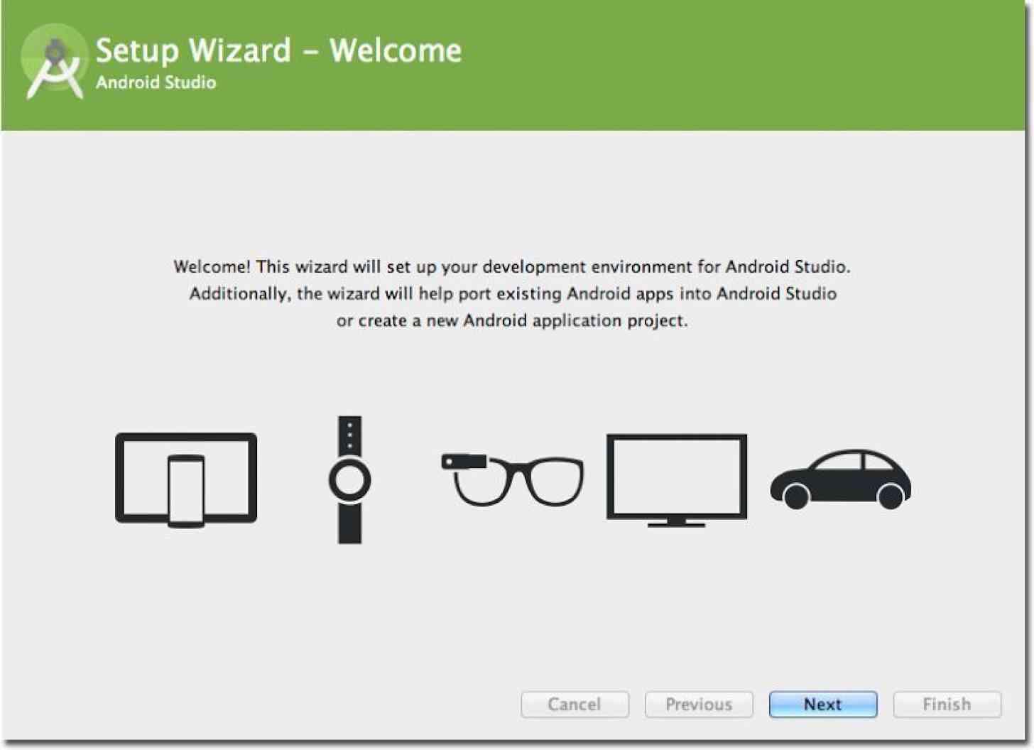 Android Studio 1.0 setup wizard