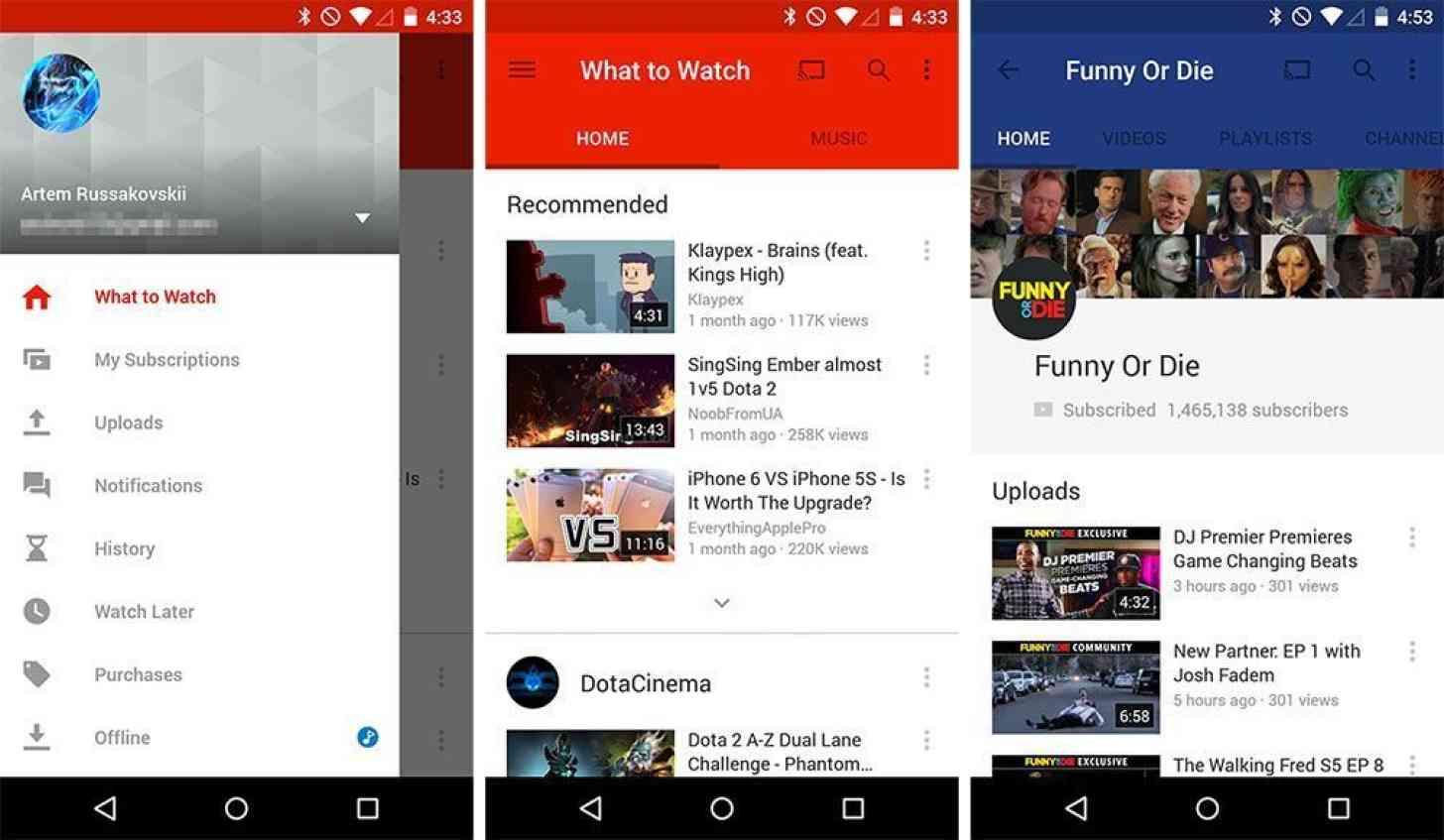 YouTube Material design screenshots
