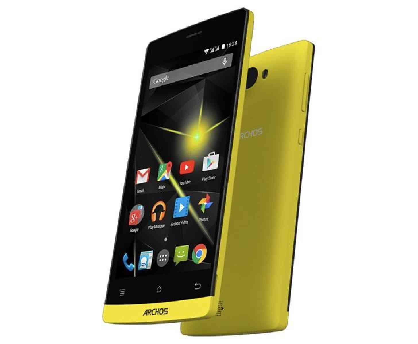 Archos Diamond smartphone official yellow