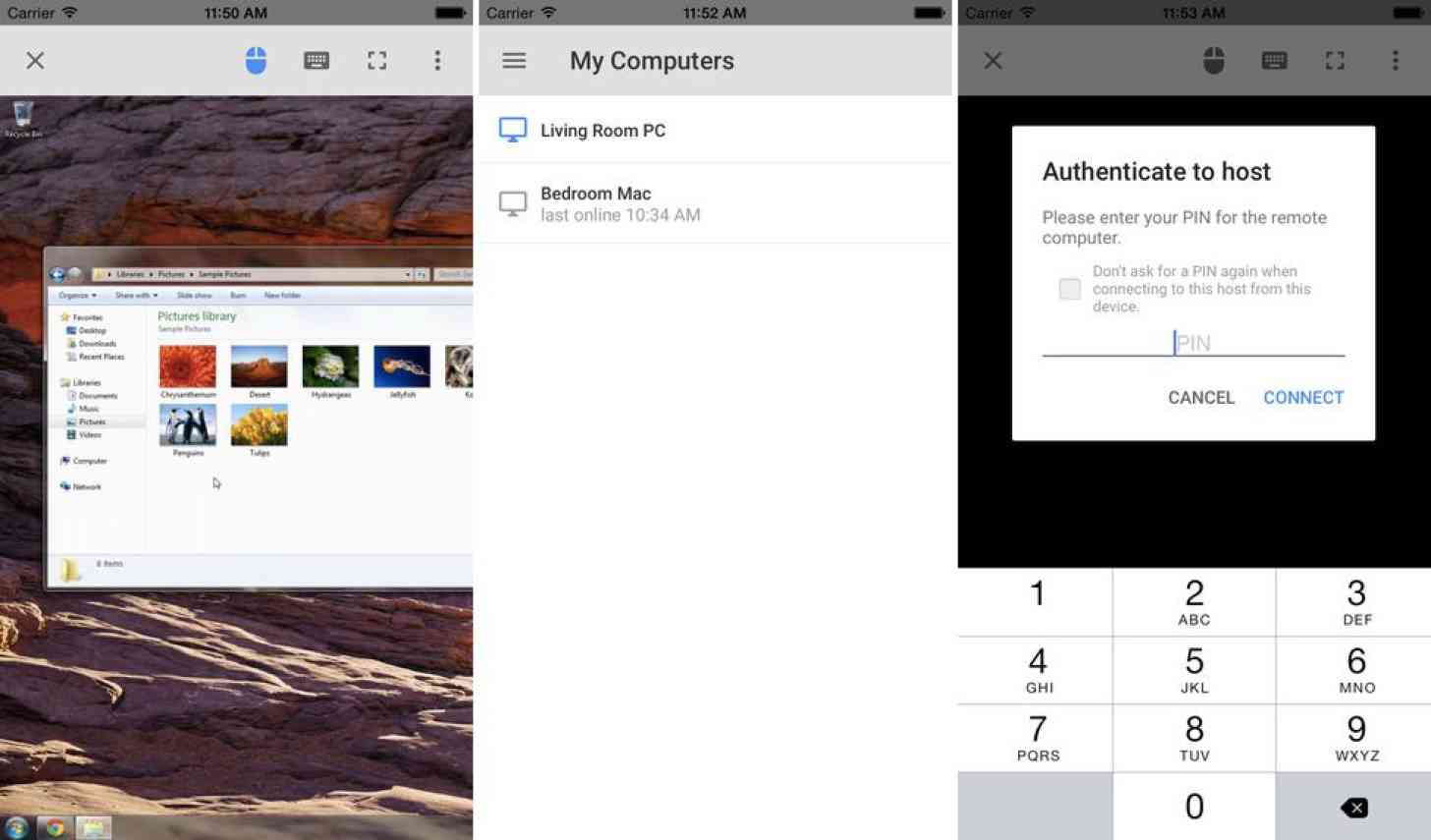 Google Chrome Remote Desktop iPhone screenshots