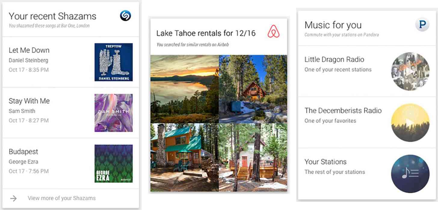 Google Now third-party app integration cards