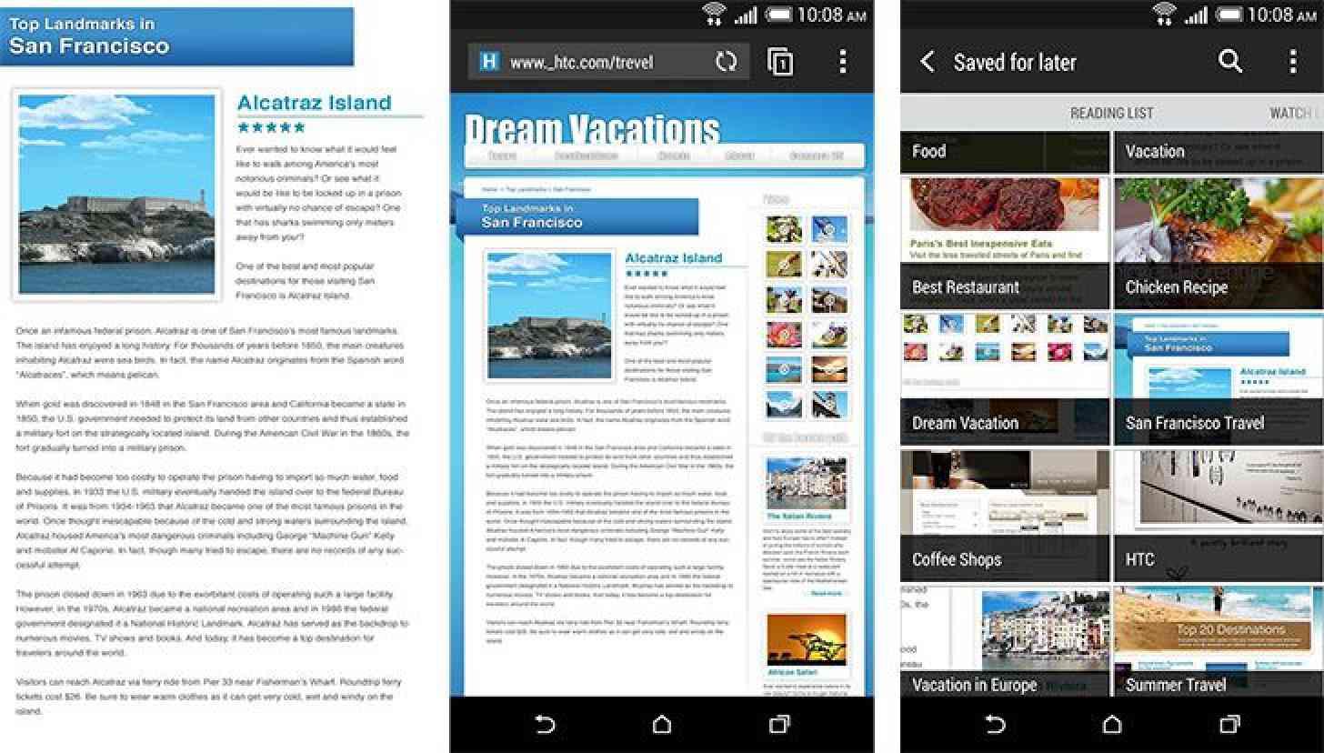 HTC Internet browser app screenshots