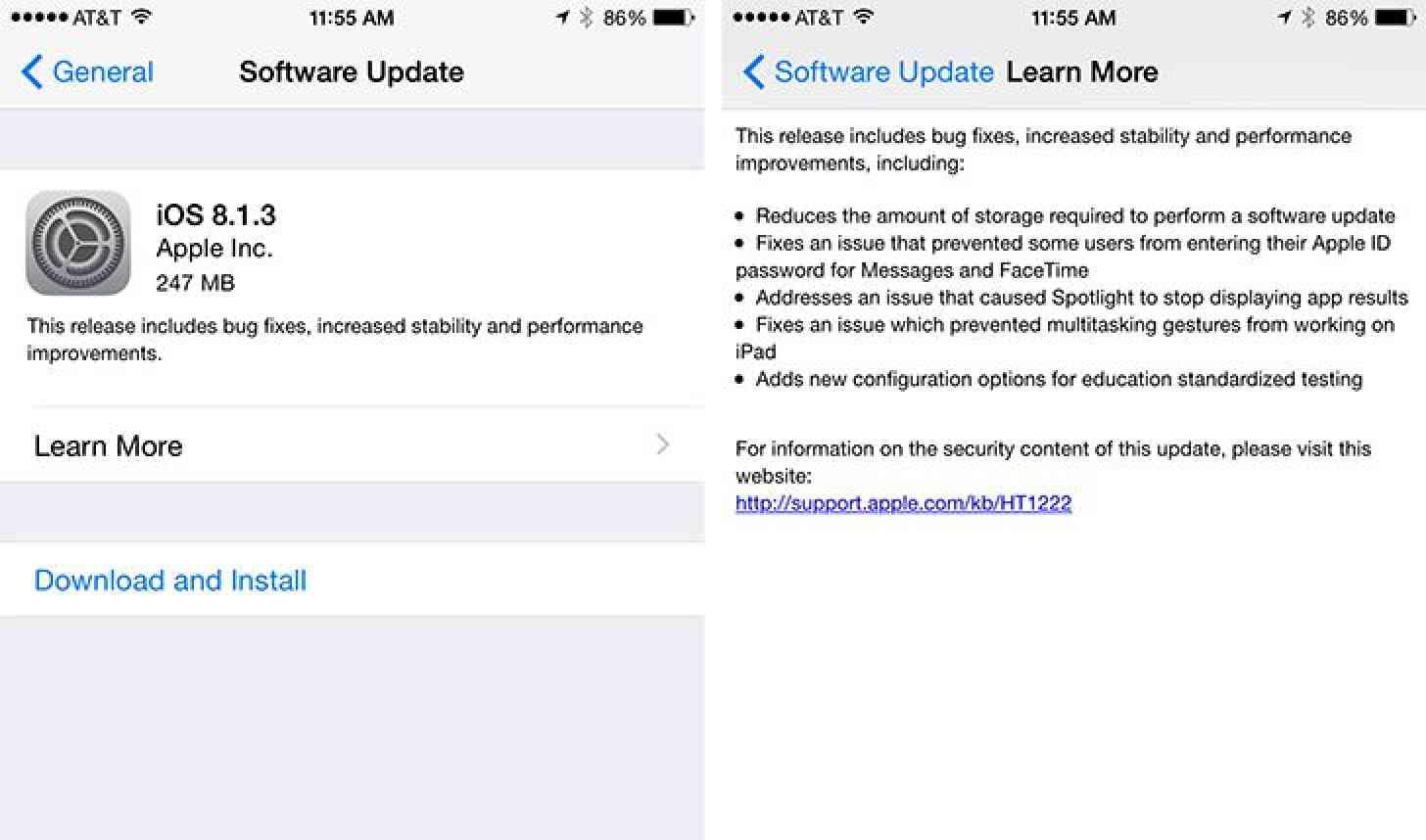 iOS 8.1.3 update screenshots