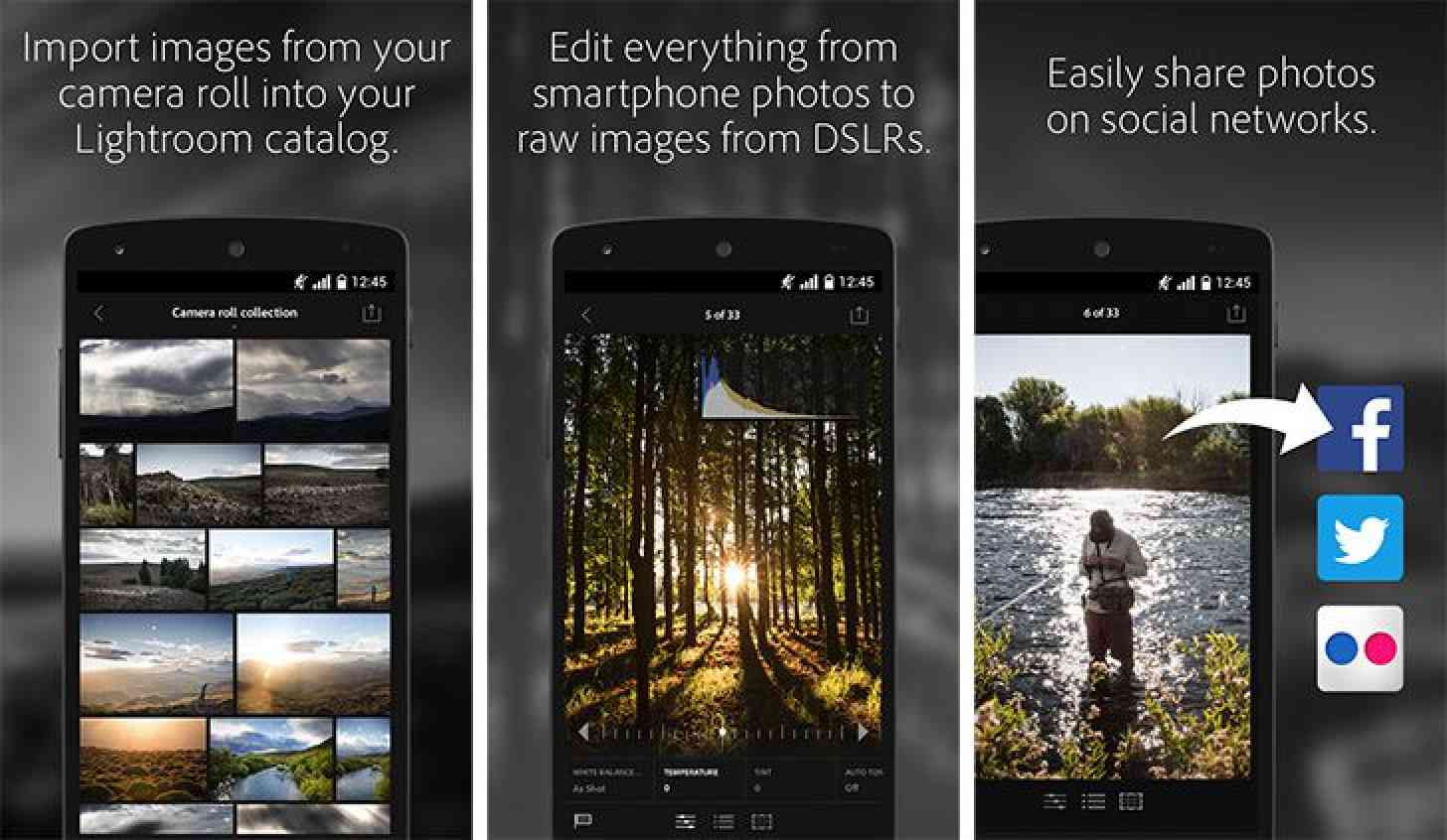 Lightroom for Android app screenshots
