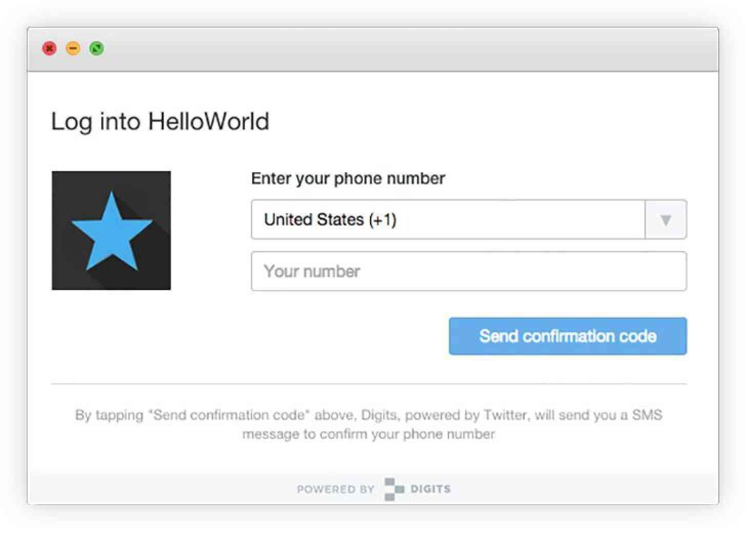 Twitter Digits web login