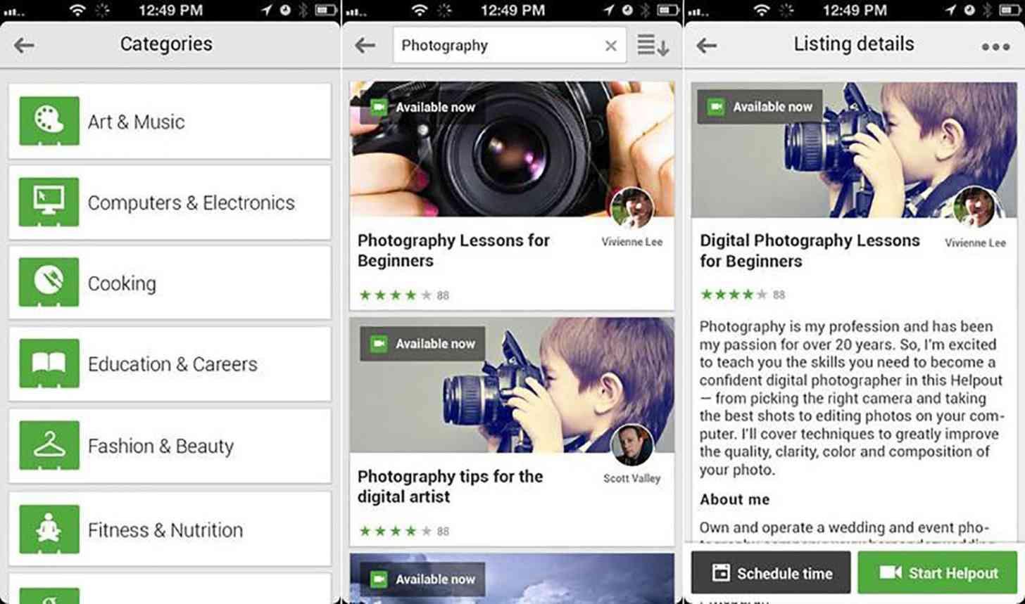Google Helpouts iOS app screenshots