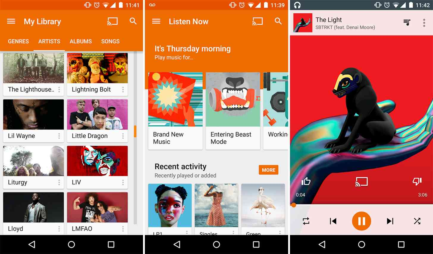 Google Play Music screens