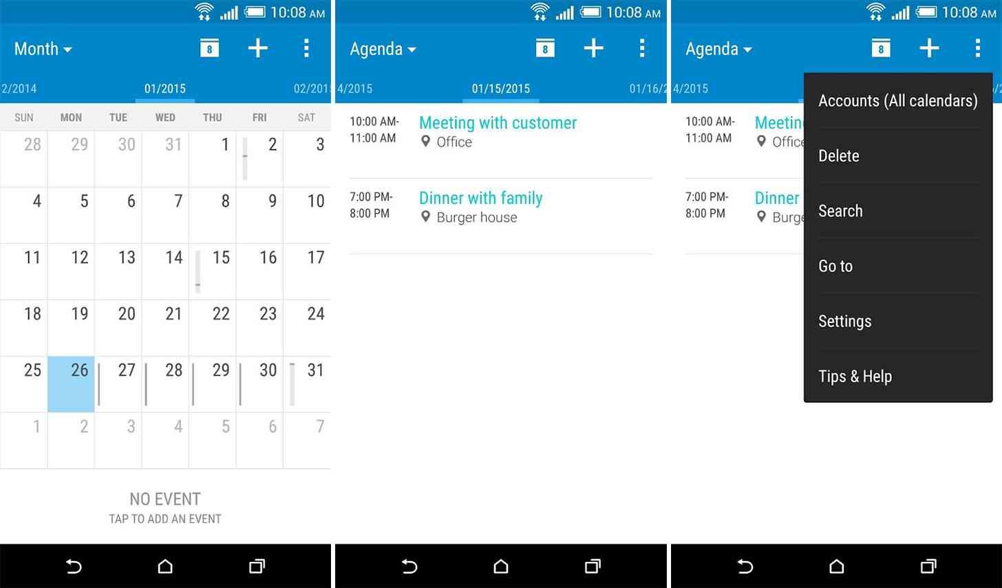 HTC Calendar Android app screenshots