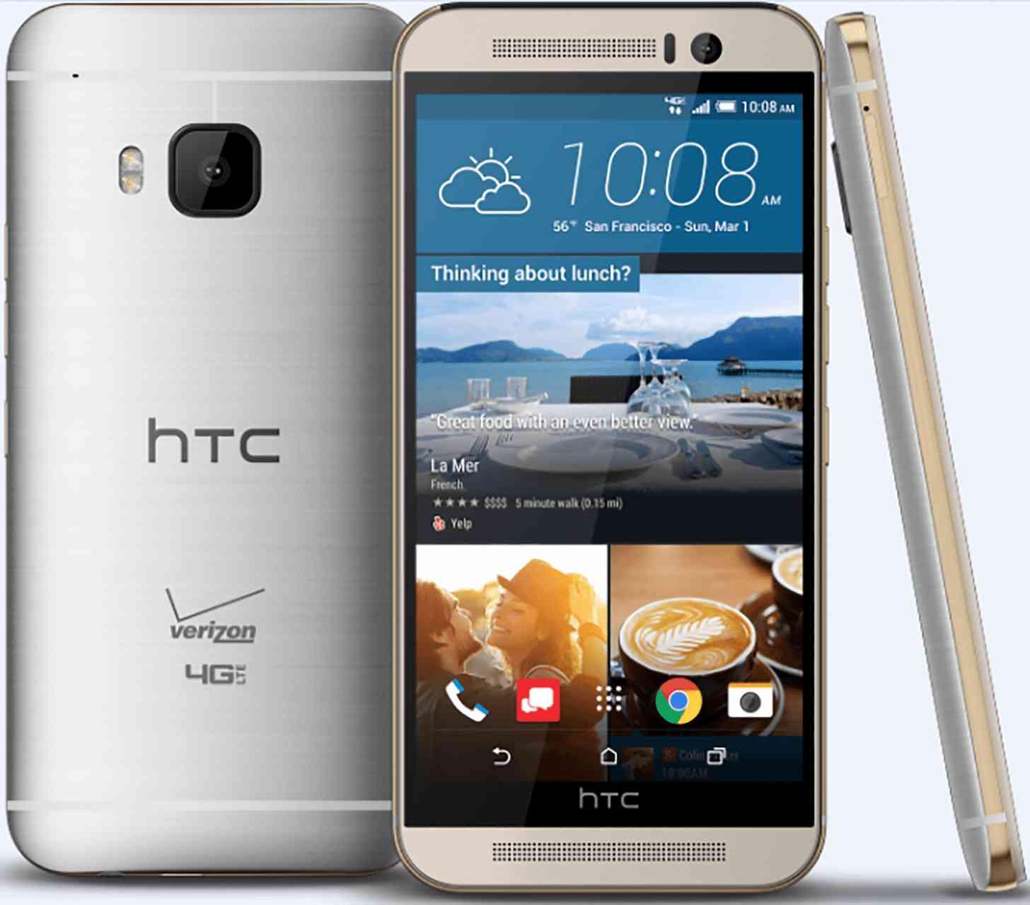 Verizon HTC One M9 Gold on Silver