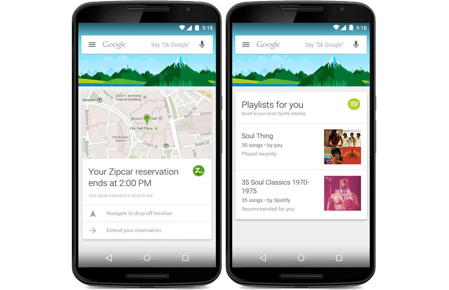 Google Now Zipcar, Spotify app integration