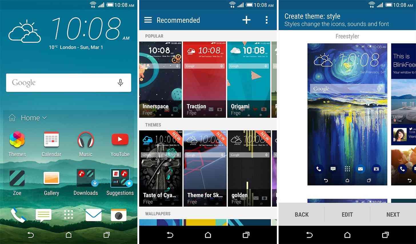 HTC Sense Home app screenshots