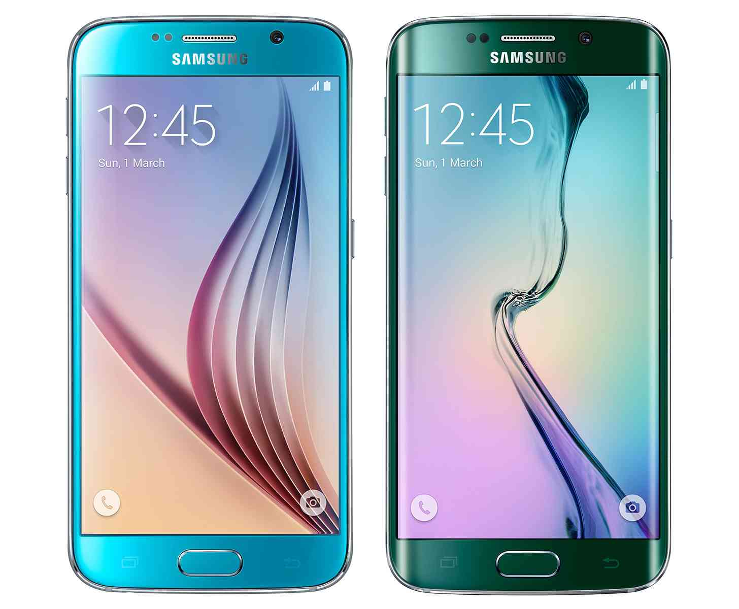 Blue Topaz Samsung Galaxy S6, Green Emerald Samsung Galaxy S6 edge front