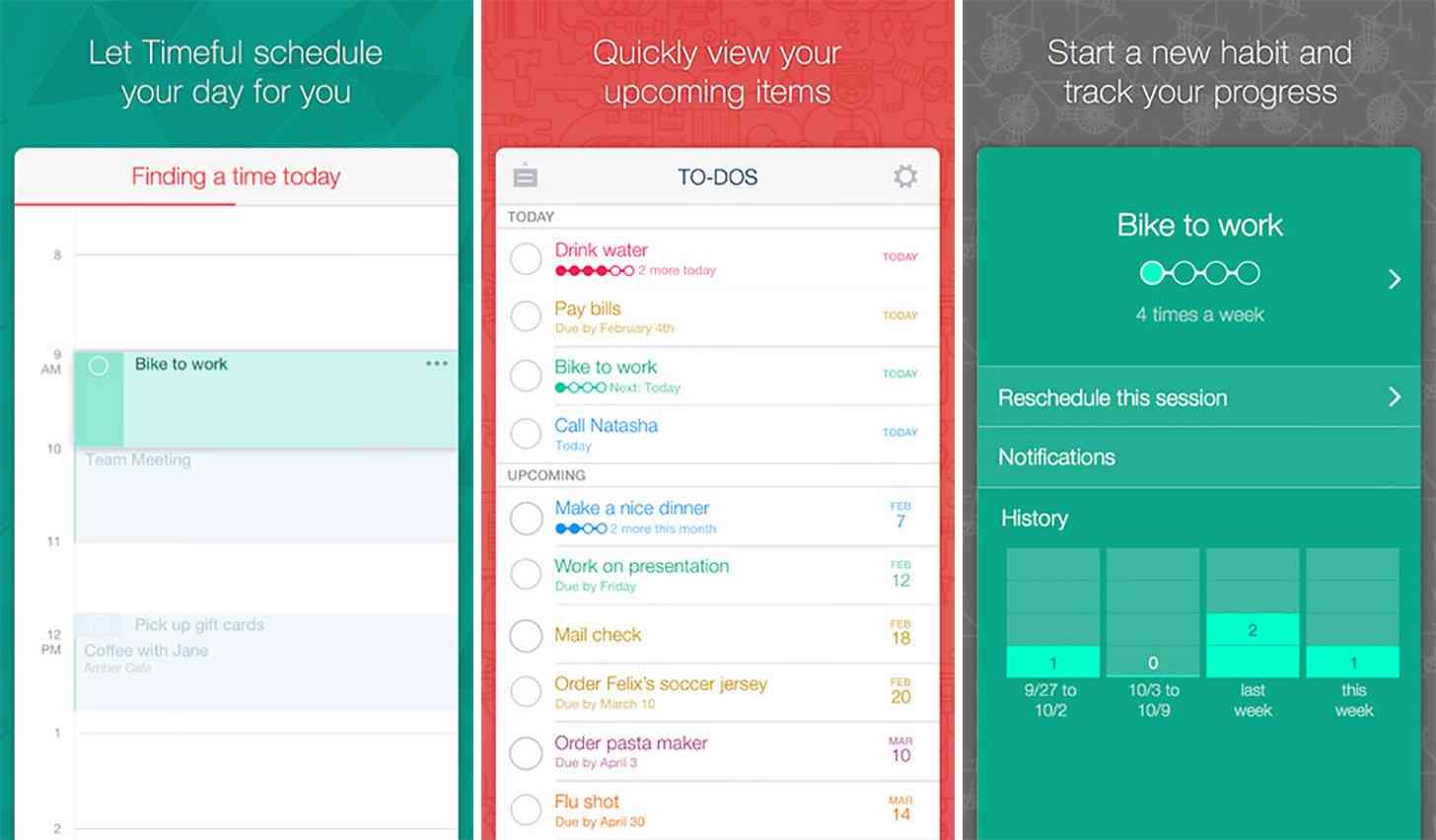 Timeful iOS app screenshots