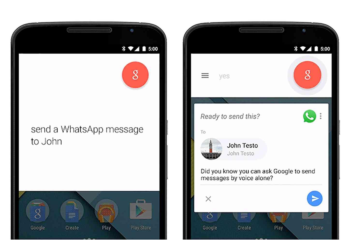Google Now third-party messaging app integration