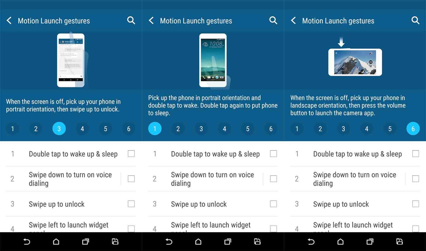 HTC Motion Launch app screenshots
