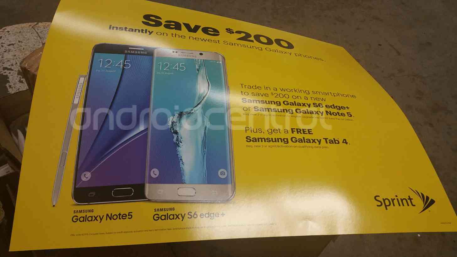 Sprint Galaxy Note 5, S6 edge+ trade-in promo leak