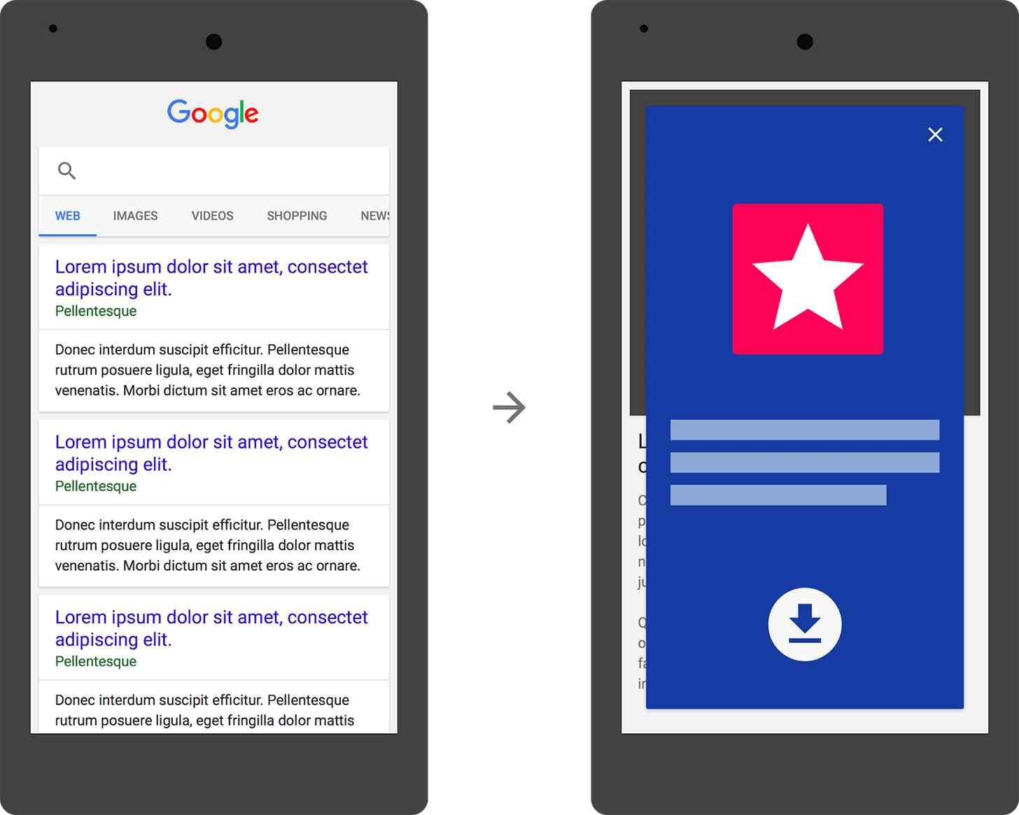 Google interstitial app install ad