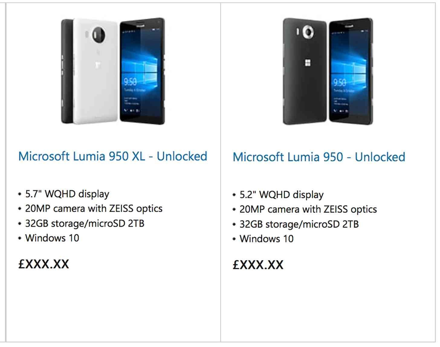 Microsoft Lumia 950, Lumia 950 XL store leak
