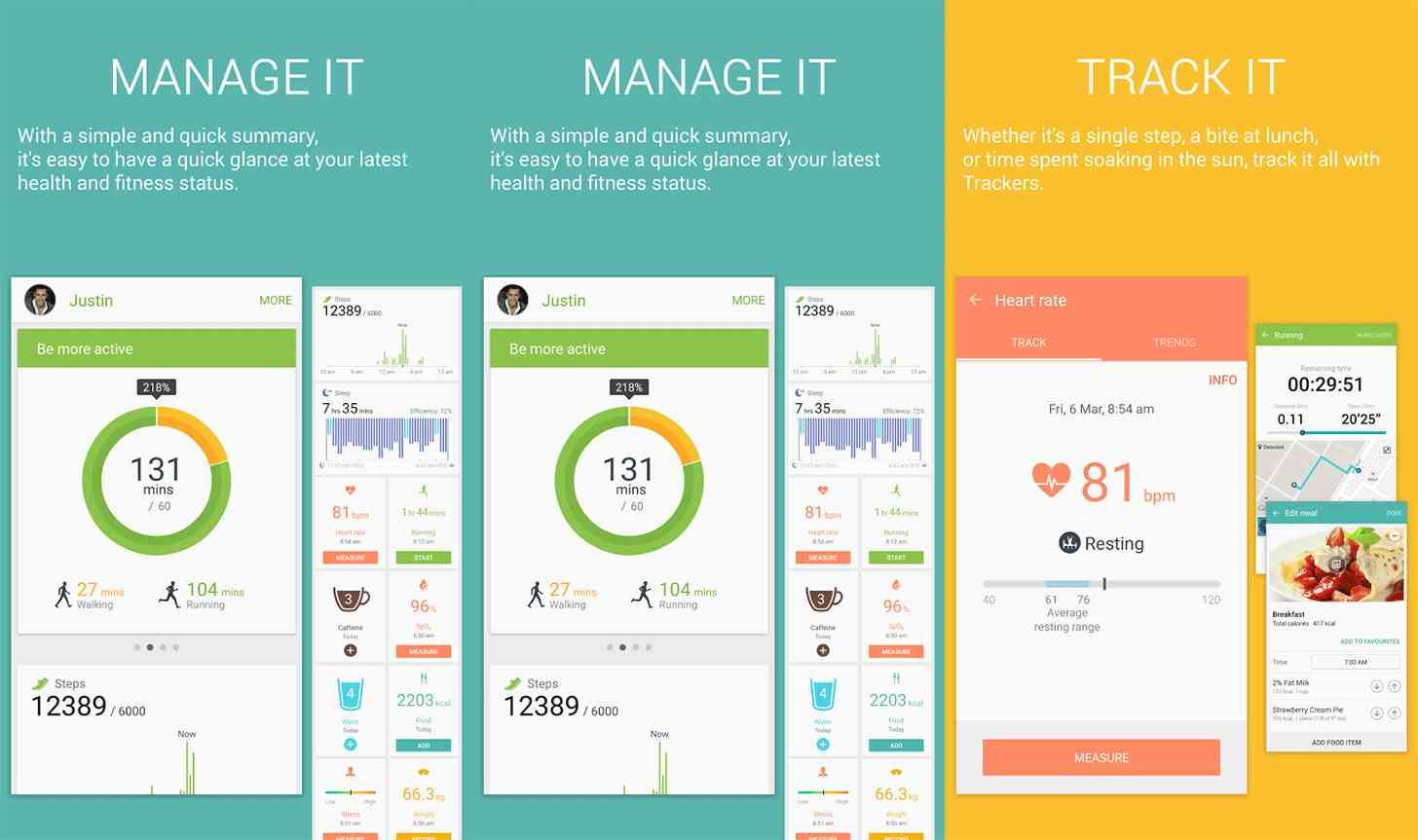 Samsung S Health app screenshots