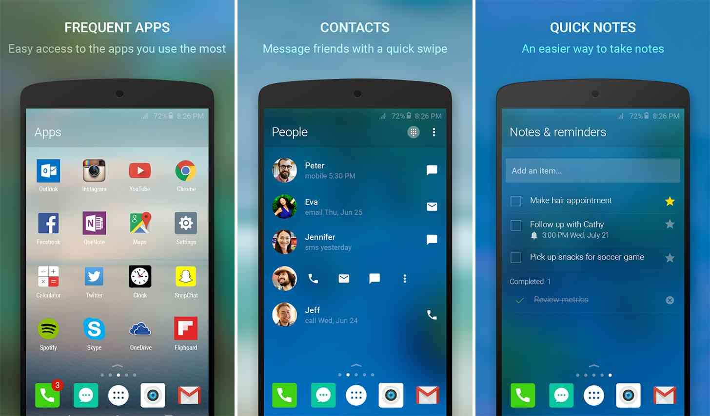 Microsoft Arrow Launcher Android app screenshots