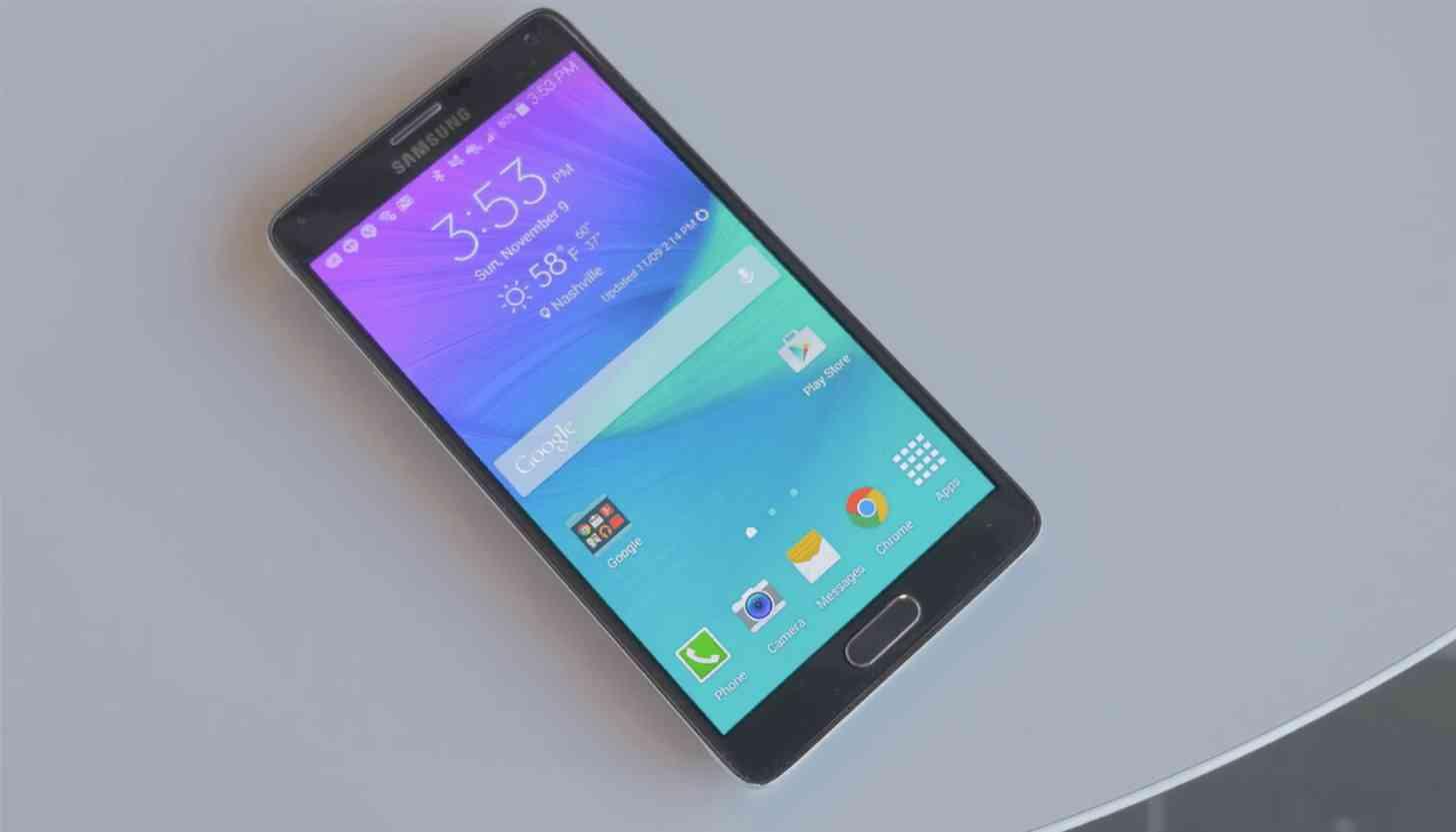 Samsung Galaxy Note 4 laying large