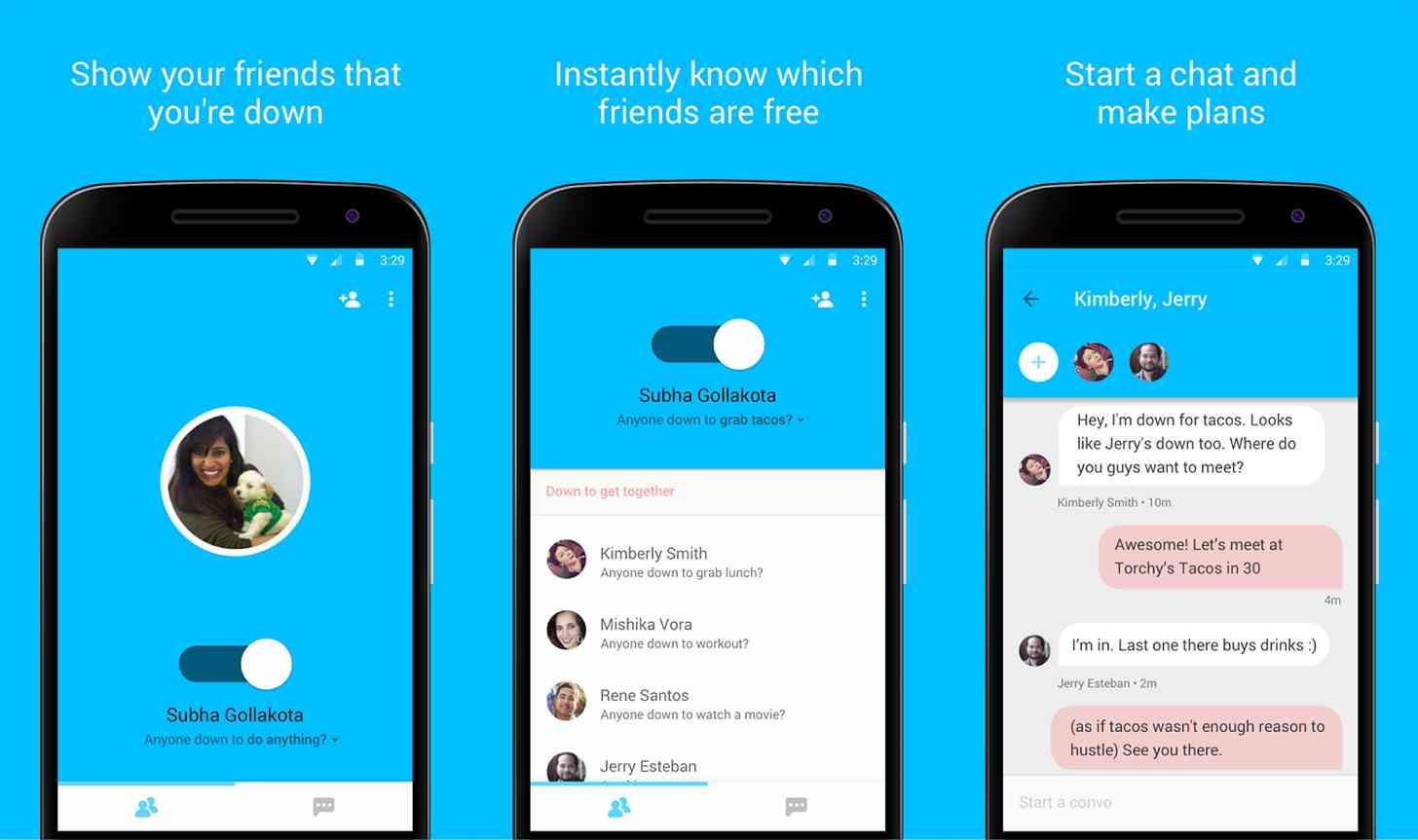 Google Who's Down app screenshots