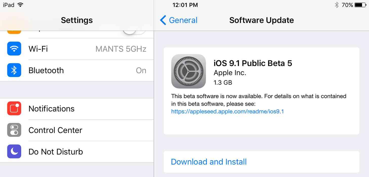 iOS 9.1 Public Beta 5