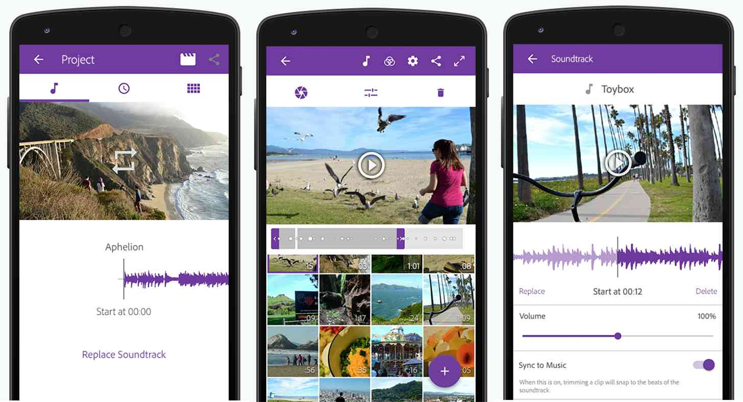 Adobe Premiere Clip Android app screens