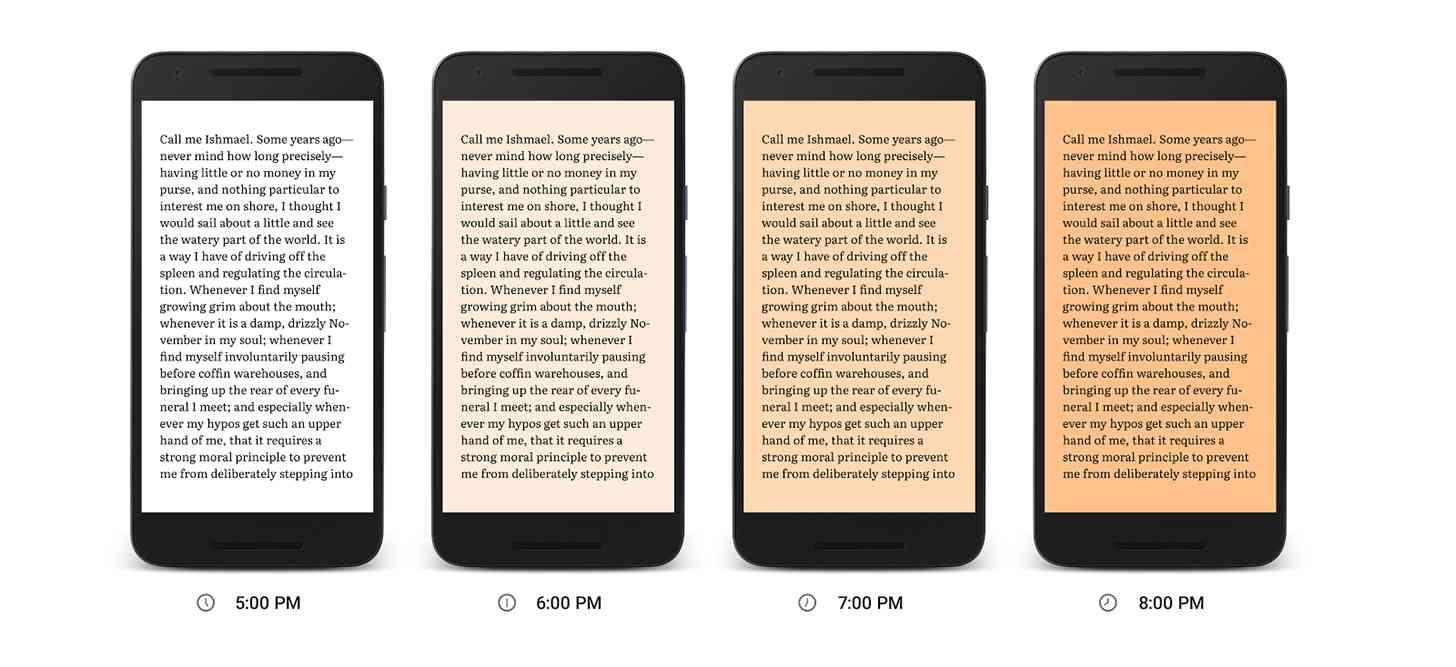 Google Play Books Night Light mode