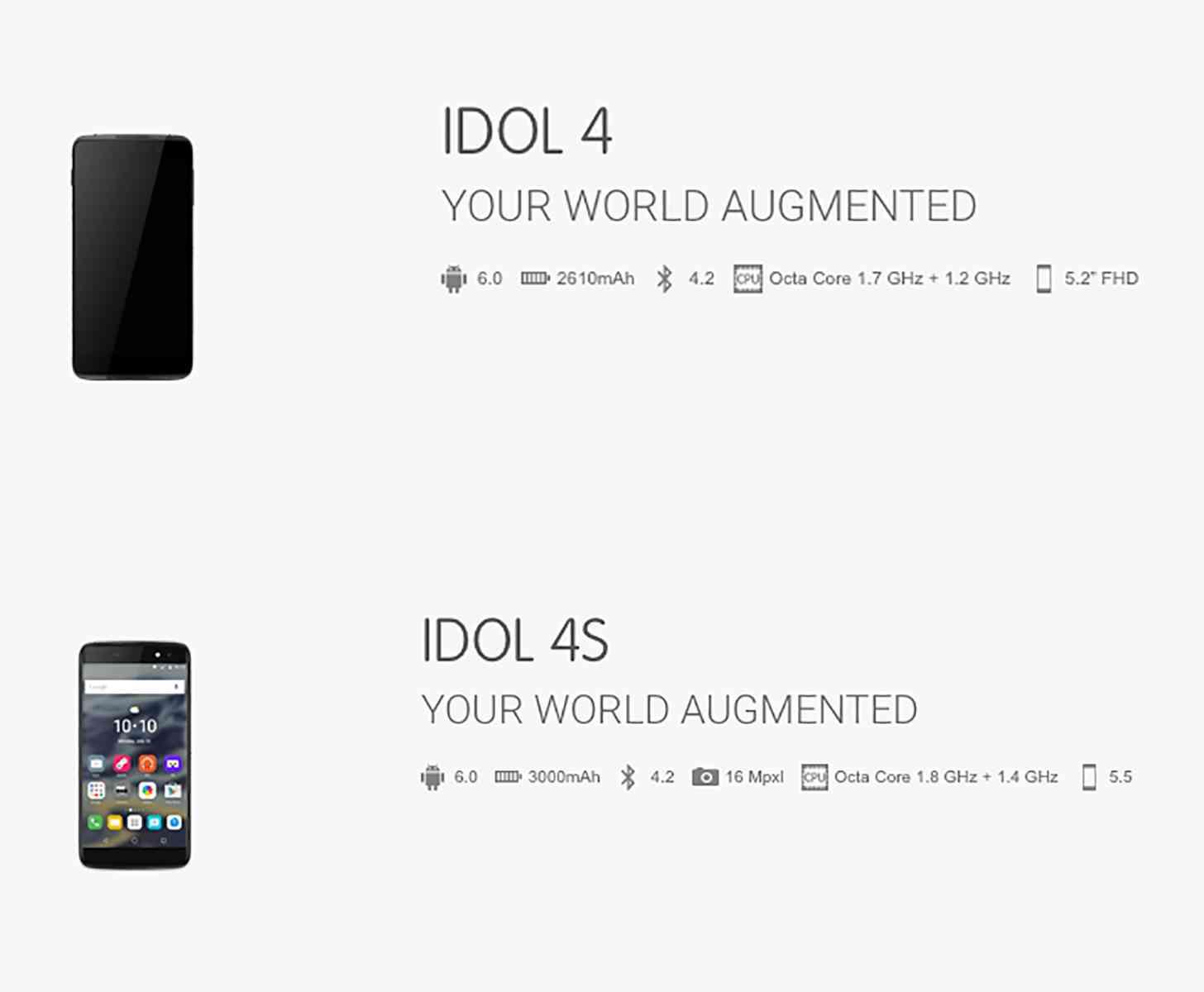 Alcatel OneTouch Idol 4, Idol 4S spec lists leak in full