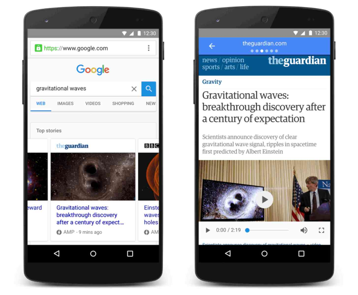 Google AMP mobile search
