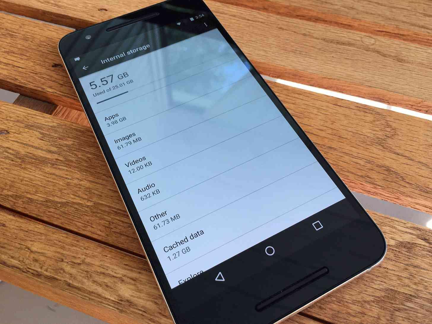 Nexus 6P storage Settings app