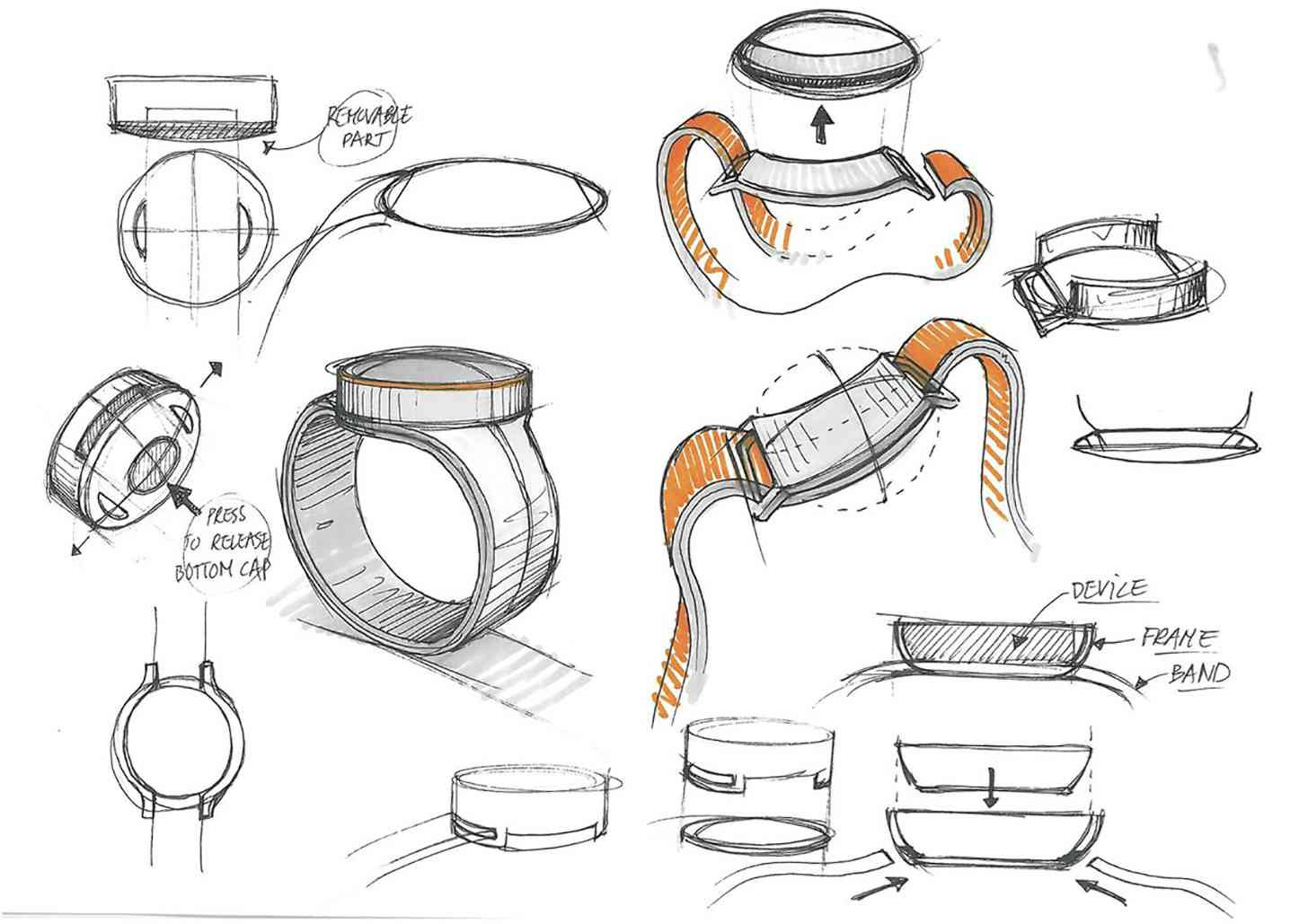 OnePlus smartwatch design sketches