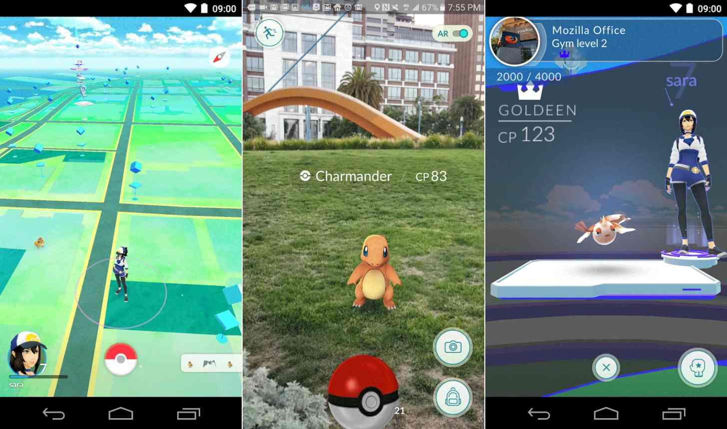 Pokémon Go Android app screenshots